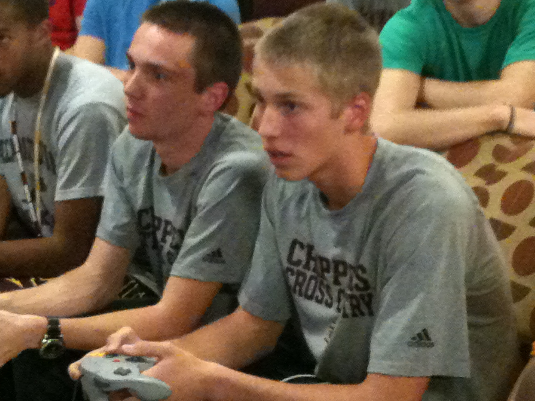 Ben Wynsma (left) and Zach Spreitzer (right) deeply engaged in battle