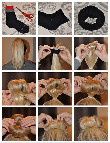 The key here is to use the sock to boost the thickness of the bun, rather than as a way to keep the loose ends secure. Comb your hair up into a high ponytail, slide the sock down to the base of the pony, then comb your hair over the doughnut and secure with pins or a hairtie at the base.