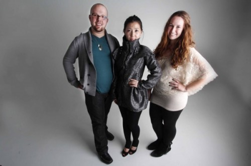 Designers Jason Gagnon (left), who is also the producer of Threads, and Megan Webster (right)  with model Jenna Jung (center). (Brooke Whitten | Photo Editor)