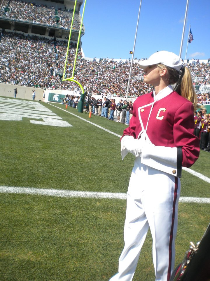 Julie Claveau serving as assistant drum major for the Chippewa Marching Band. (Photo submitted by Julie Claveau)