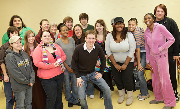 Jeffery Bean with his one of his ENG 294 classes last spring when he received   (Photo submitted by Jeffery Bean)