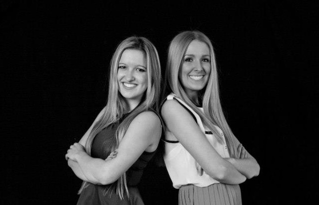 Morgan Bregitzer and Lindsey Peters pose for the Threads fashion show booklet. The two seniors are the producers of this year's show.