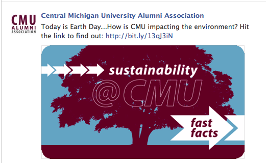 A Facebook post that CMU made on Earth Day promoting its sustainability efforts on campus.