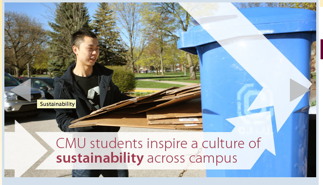 A sustainability promotion advertised on CMU's website in March.