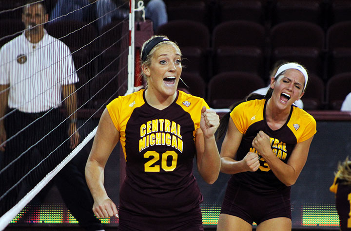 Central Michigan Women's Volleyball team's middle blocker, Danielle Gotham celebrates after spiking the ball over the net Saturday night. (Photo | Christopher Holman)
