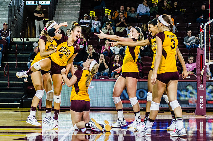 Central Michigan's Women's Volleyball celebrates a win against Akron last Saturday in McGuirk Area. (Photo | Trevor Redford)