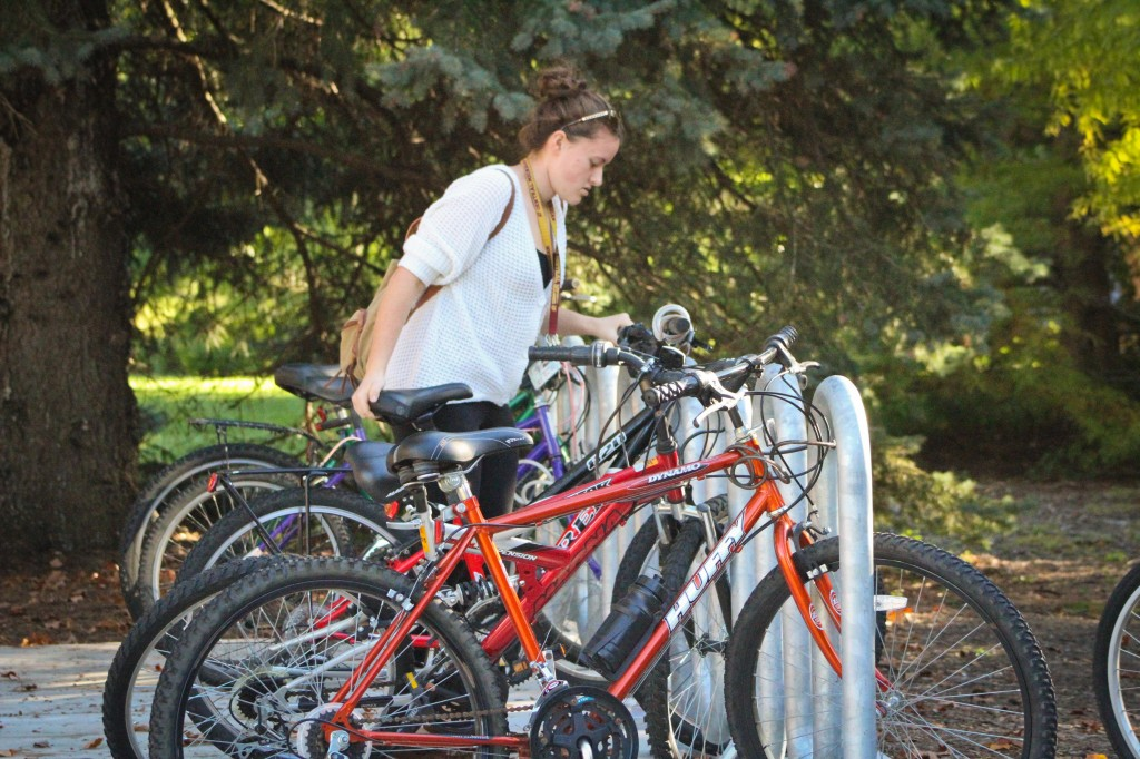 "Sophomore, Emily Mesner said, ""I take my bike because I have 15 minutes to get from DOW to Wightman and it's just faster."" (Photo 