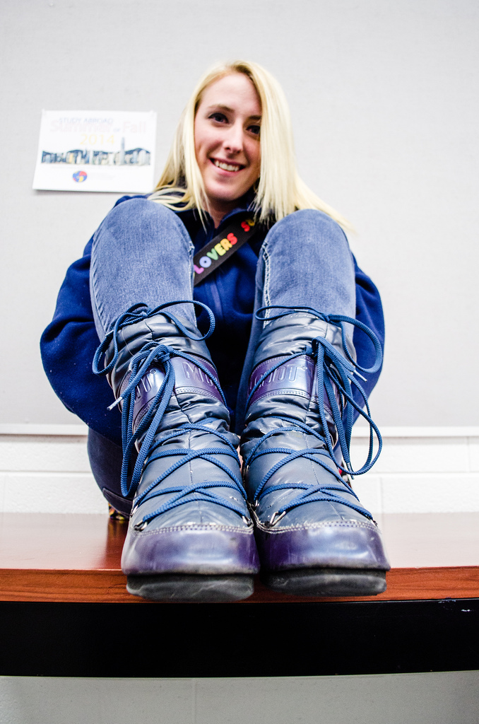 Winter is coming and Senior, Danielle Saigeon has her comfy moon boots at the ready. (Photo | Trevor Redford)