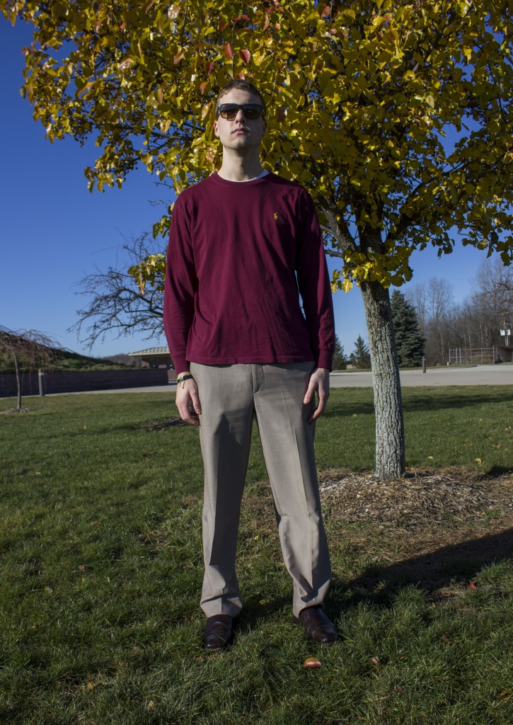 Matt Scholtens, a senior from Greenville, shows off his Thanksgiving seasonal outfit. Scholtens outfit consists of brown dress slacks and a Ralph Lauren long sleeve shirt. (Photo | Kyle Wilson)