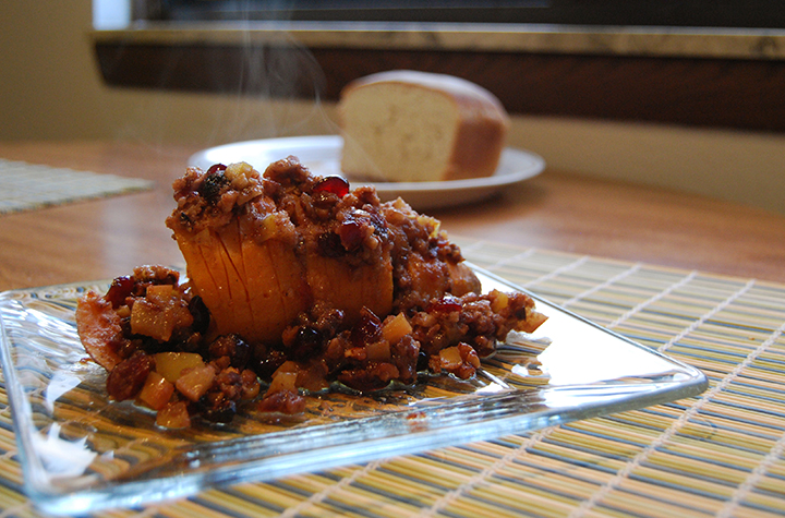 This hasselback sweet potato is an ideal sweet side dish to contrast the green beans and stuffing on your plate. (Photo   Andrea Henk)