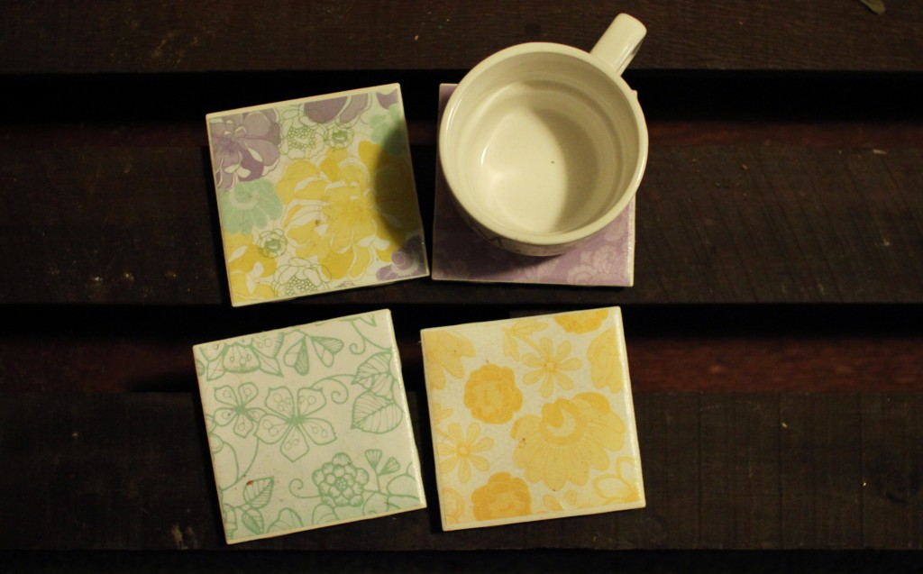 For a feminine touch try buying some scrapbooking paper and making your own girly coasters, a great gift for your roommate. (Photo | Shannon Millard)
