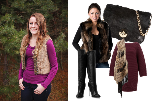 Kaitlyn Millard (right) models her faux fur vest outfit that she plans to wear to her family Christmas party. (Photo | Shannon Millard)