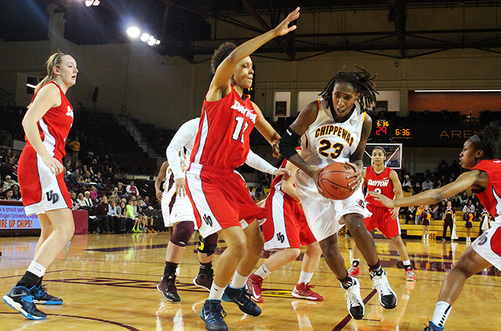 Crystal Bradford (23) scored 34 points and hit the game-winning shot against Dayton at McGuirk Arena on Dec. 5, 2013. (Photo | Brittni Hengesbach)