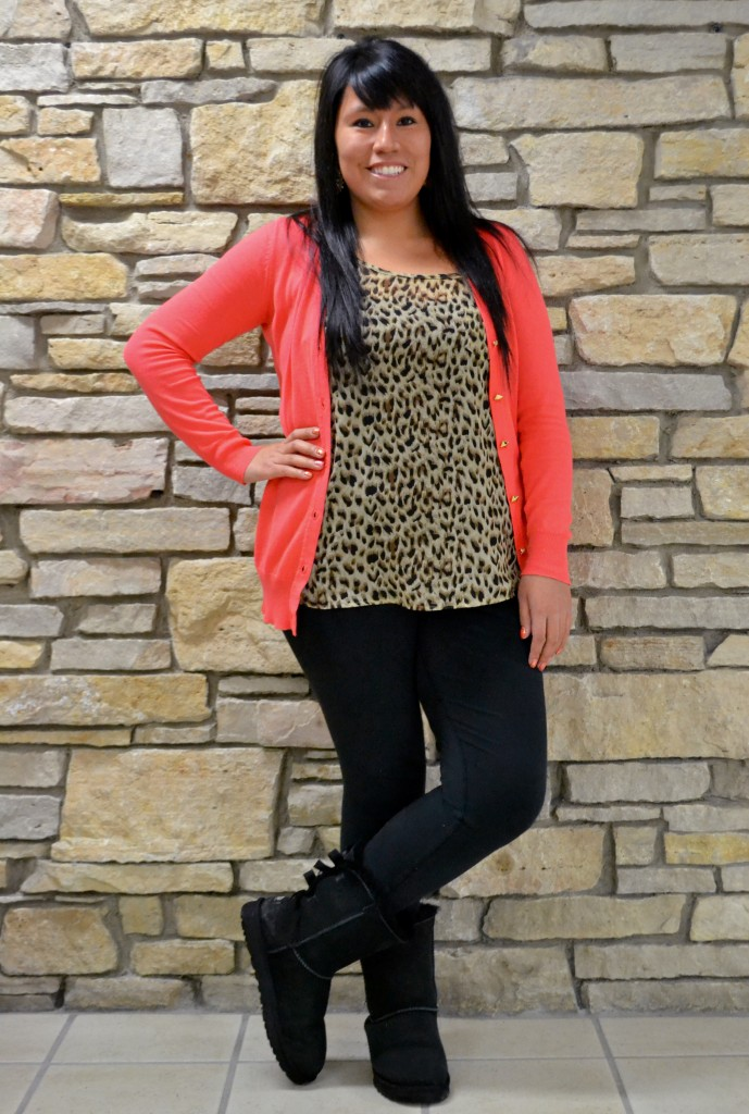 Central Michigan University senior, Anamaria Dickerson, the writer of this article, shows off her sense of style in a trendy leopard print top matched with a brightly colored cardigan for a pop of color on a cold winter afternoon on March 5, 2014.
