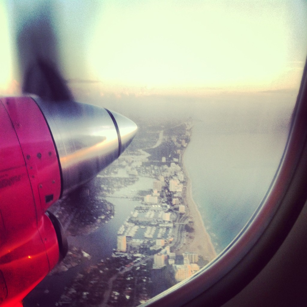 The view out of a plane window flying over the Fort Lauderdale coastline (Photo | Valerie Coughlin)