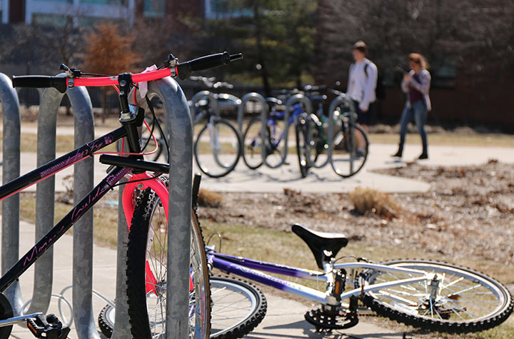 Bike racks on CMU's campus fill as the temperature rises on April 9, 2014.