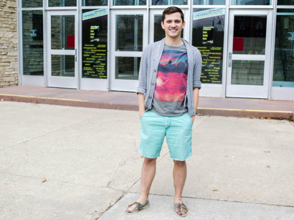 Central Michigan University senior Britton Dennis shows off his brightly colored shorts at the Bovee, Central Michigan University, Mount Pleasant, Michigan on April 18, 2014. (Photo | Catherine Brettschneider)