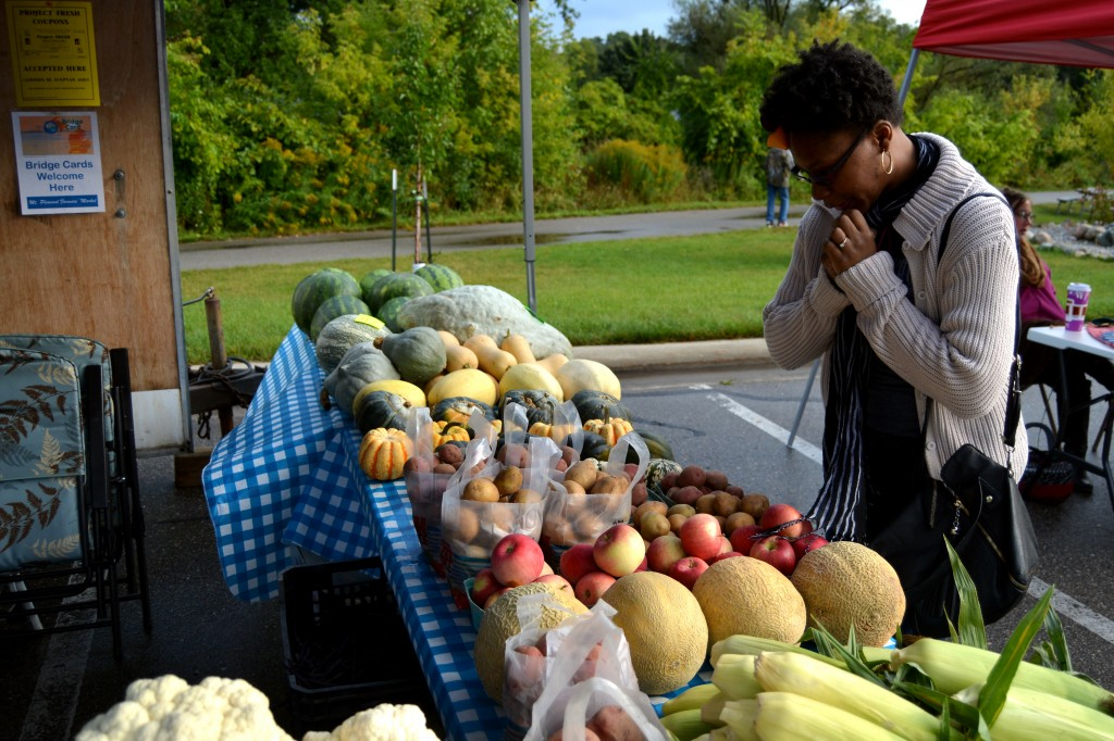 Central Michigan University Senior, Tasia Bass, ponders what food she should purchase at the Mount Pleasant Farmers' Market on Sept. 13, 2014. (Photo | Andrea Henk)