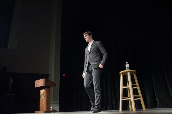 Actor, RJ Mitte, spoke to an audience of about 700 students in Plachta Auditorium on Tuesday, Oct. 28, 2014. (Photo | Claire Abendroth)