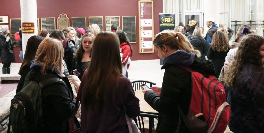A line of Central Michigan University students wrapped around the Bovee Center in attempts to reserve a slot to find out at CMU Program Board's Psychic Fair on Thursday January 15, 2015.  (Photo I Kaiti Chritz)