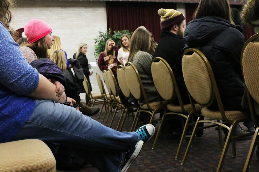 Students wait for their reading at CMU Program Board's Psychic Fair on Thursday January 15, 2015. (Photo I Kaiti Chritz)