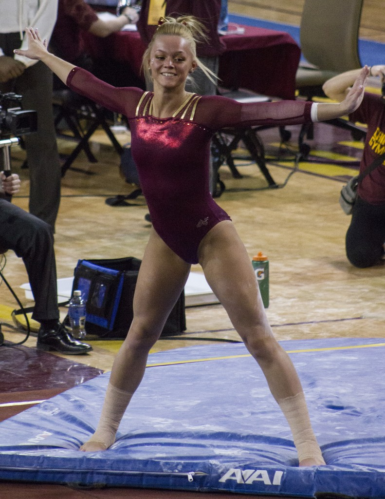 Kirsten Petzold competes in the floor exercise during a meet against NIU in McGuirk Arena, on the campus of Central Michigan University, Mount Pleasant, Michigan, Friday, February 6, 2015. (Photo I Rich Drummond)