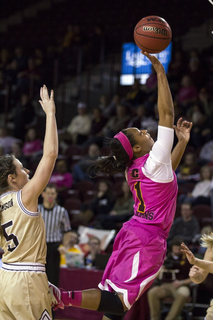 Central Michigan's Da'Jourie Turner, (1), drives to the hoop during their game against Western Michigan in McGuirk Arena, on the campus of Central Michigan University, Mt. Pleasant, Michigan, Saturday, February 21, 2015