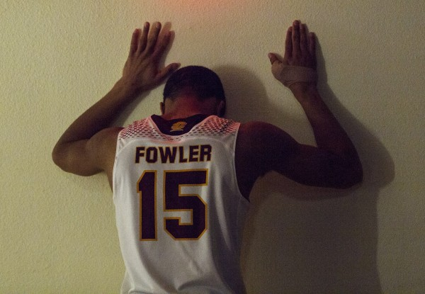 Central Michigan University's Chris Fowler gathers himself before Saturday's game against Ball State.