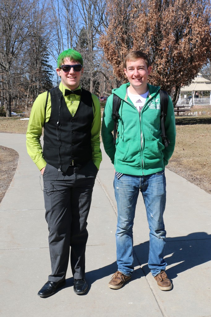 Quinn Hovarter and Richard Bramette both wore green for the the holiday, and Quinn topped his outfit off with green hair. (Photo I Kaiti Chritz)