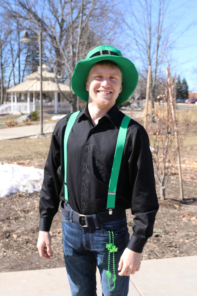 Nicholas Miller sported green suspenders and hat for St. Patrick's day on March 17, 2015. (Photo I Kaiti Chritz)