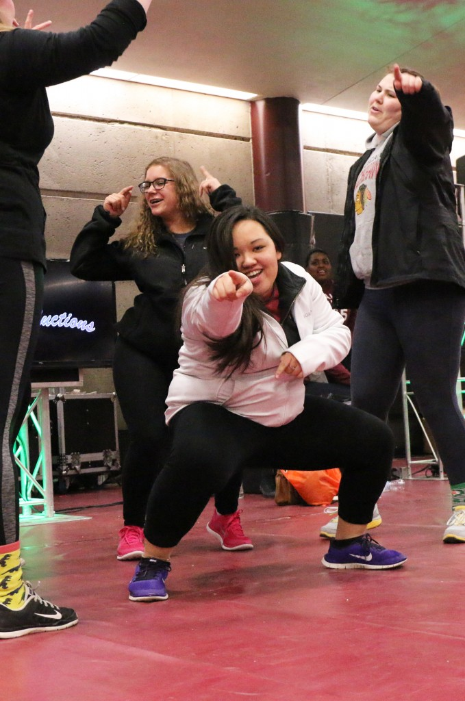 "After her ticket was dawn, Anna Wedster was challenged to dance with her friends to ""Uptown Funk""  to min an iPad mini. (Photo I Kaiti Chritz)"