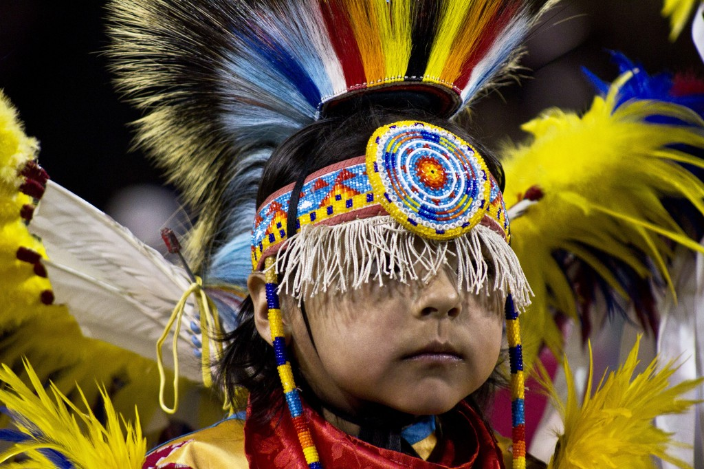 A dancer wears elaborate regalia at the 26th Annual Celebrating Life Pow wow. (Photo I Alex Ryske)