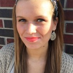CMU sophomore Ashley Moyers wears a coral lip color. (Photo I Colleen Dluzynski)