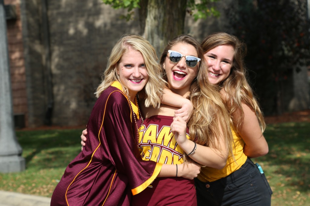 CMU students fire up for the football game at Michigan State University in East Lansing on Saturday, September 26, 2015.