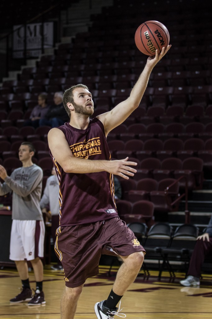 John Simons lays the ball up before the Maroon and Gold Scrimmage in McGuirk Arena, on the campus of Central Michigan University, Mt. Pleasant, MI, Saturday, October 17, 2015.