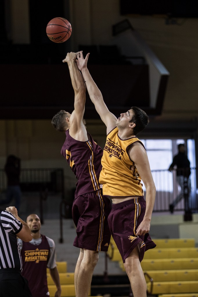 Luke Meyer wins the tip off during the Maroon and Gold Scrimmage in McGuirk Arena, on the campus of Central Michigan University, Mt. Pleasant, MI, Saturday, October 17, 2015.