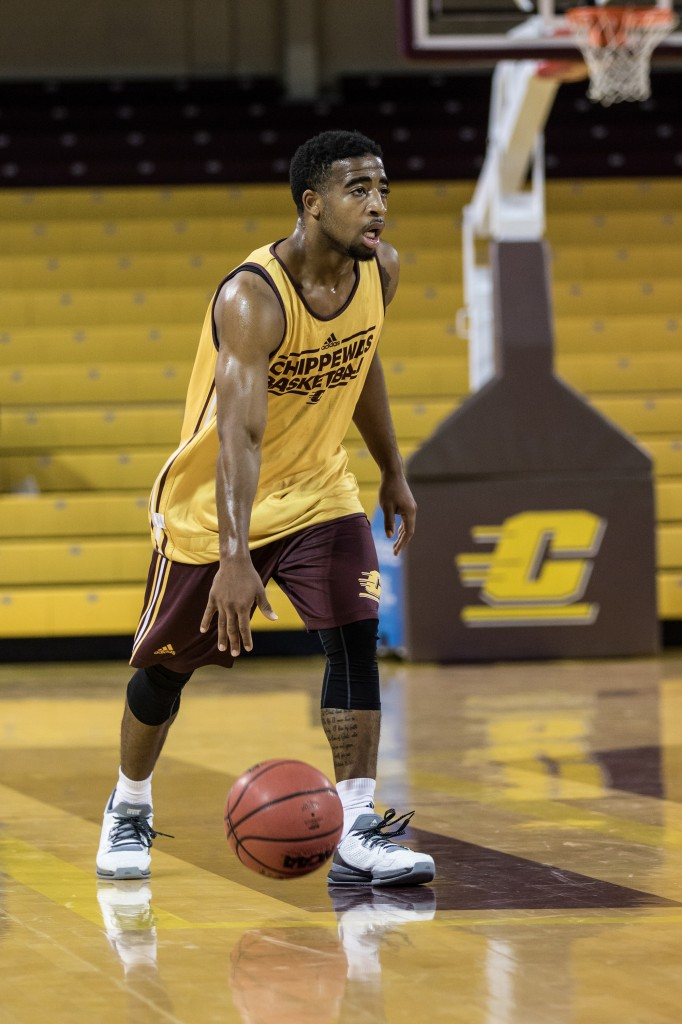 Marcus Keene dribbles the ball up the court during the Maroon and Gold Scrimmage in McGuirk Arena, on the campus of Central Michigan University, Mt. Pleasant, MI, Saturday, October 17, 2015.