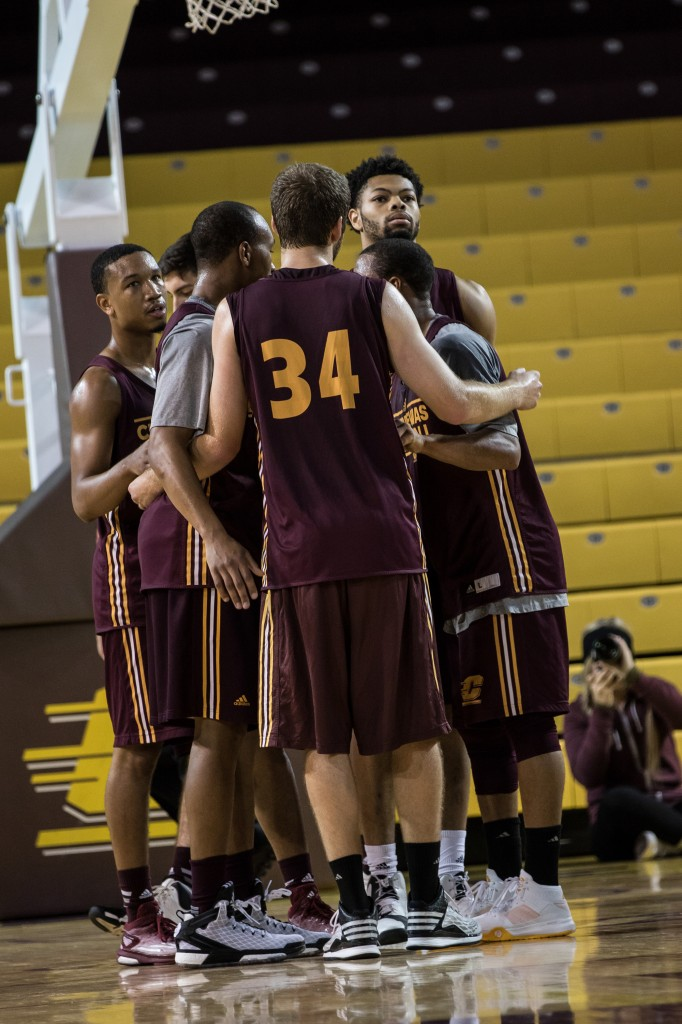 A group of players embrace during the Maroon and Gold Scrimmage in McGuirk Arena, on the campus of Central Michigan University, Mt. Pleasant, MI, Saturday, October 17, 2015.