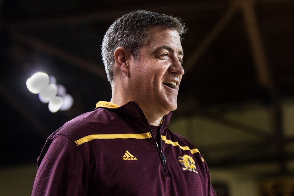 Keno Davis smiles during the Maroon and Gold Scrimmage in McGuirk Arena, on the campus of Central Michigan University, Mt. Pleasant, MI, Saturday, October 17, 2015.