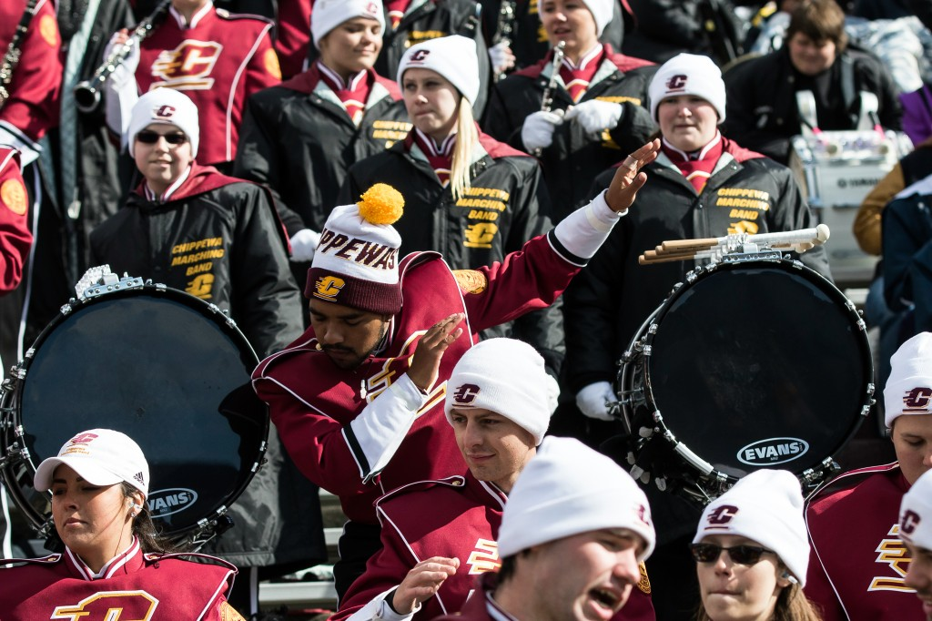 A band member dances during the football game against the University at Buffalo on the campus of Central Michigan University, Mt. Pleasant, MI, Saturday, October 17, 2015.