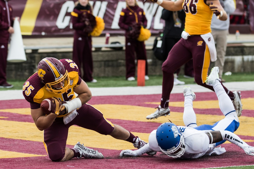 Trevor Thomas, 35, catches a touchdown during the football game against the University at Buffalo on the campus of Central Michigan University, Mt. Pleasant, MI, Saturday, October 17, 2015.