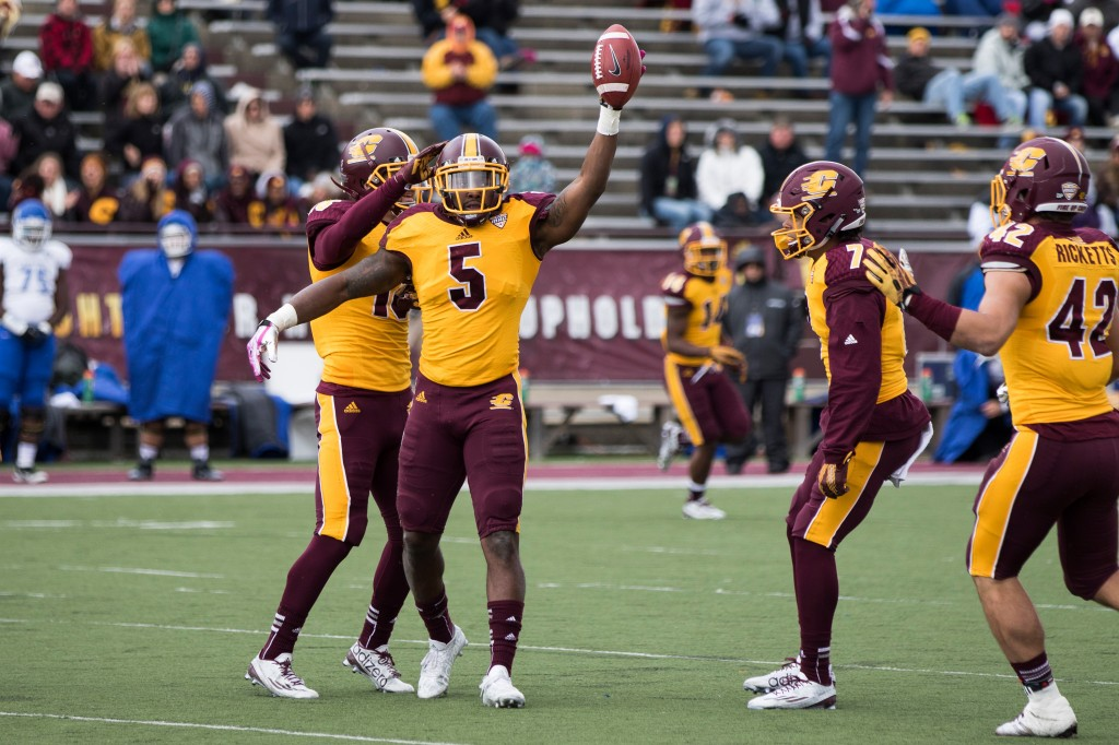 Kavon Frazier celebrates his interception during the football game against the University at Buffalo on the campus of Central Michigan University, Mt. Pleasant, MI, Saturday, October 17, 2015.