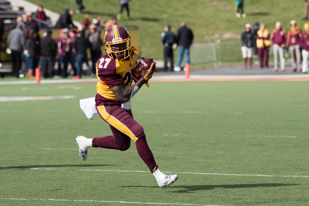 Martez Walker, 27, looks for daylight during the football game against the University at Buffalo on the campus of Central Michigan University, Mt. Pleasant, MI, Saturday, October 17, 2015.