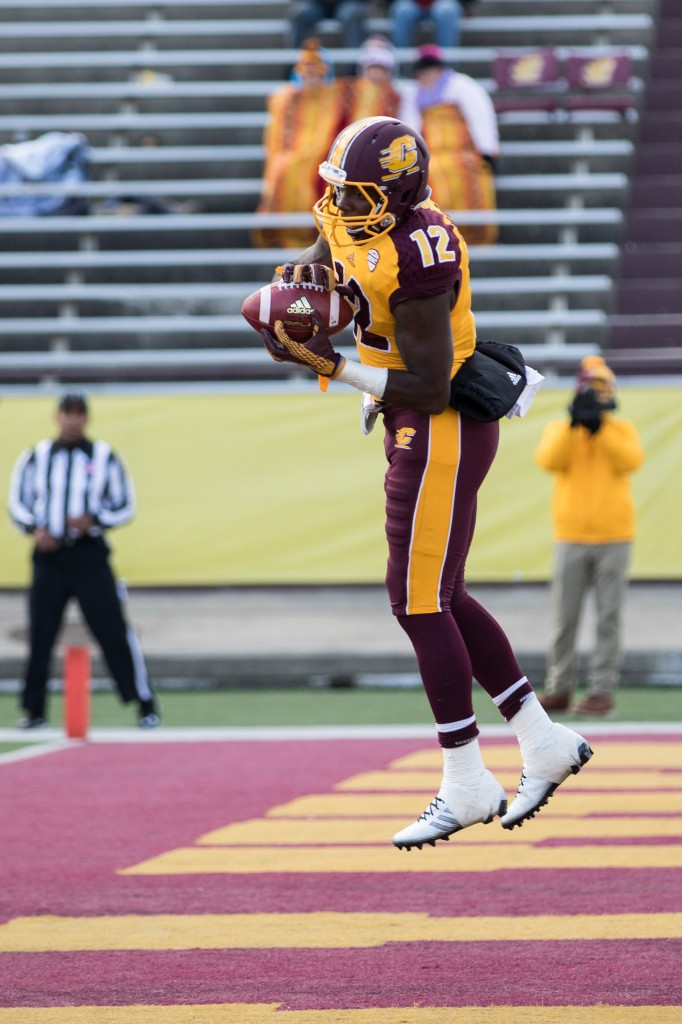 Eric Cooper secures a touchdown grab during the football game against the University at Buffalo on the campus of Central Michigan University, Mt. Pleasant, MI, Saturday, October 17, 2015.