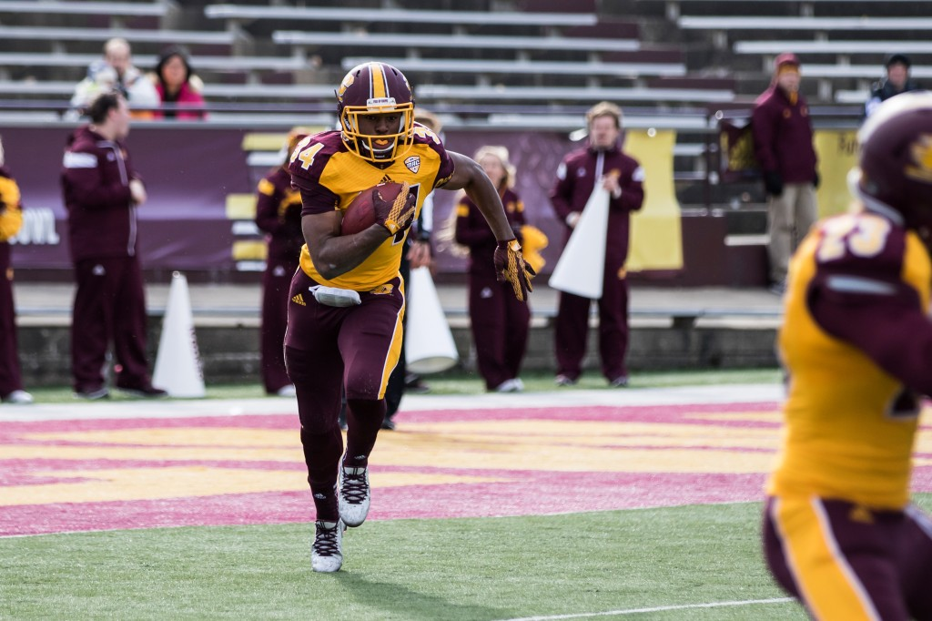 Romello Ross looks for open field during the football game against the University at Buffalo on the campus of Central Michigan University, Mt. Pleasant, MI, Saturday, October 17, 2015.