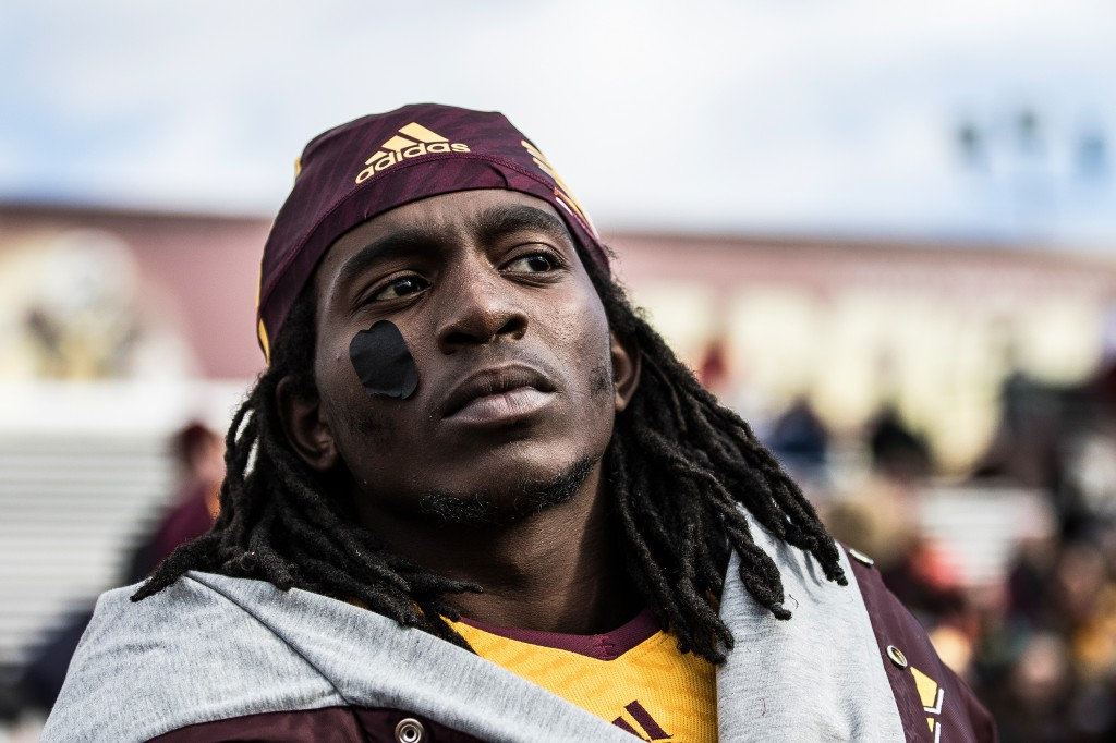 Corey WIllis looks on  during the football game against the University at Buffalo on the campus of Central Michigan University, Mt. Pleasant, MI, Saturday, October 17, 2015.