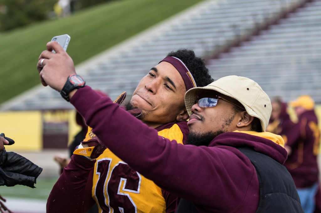 Stefon Armstead poses for a picture after the football game against the University at Buffalo on the campus of Central Michigan University, Mt. Pleasant, MI, Saturday, October 17, 2015.