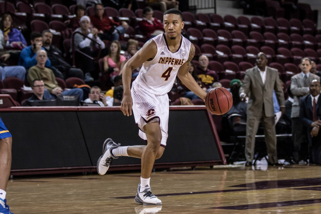Rayshawn Simmons, 4, dribbles the ball during the game against McNeese State University in McGuirk Arena on the campus of Central Michigan University, Mt. Pleasant, Michigan, Monday, November 30, 2015.