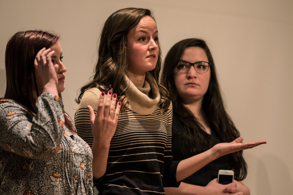 Andraya Croft, middle, answers a question during the Fences presentation in the Park Library Auditorium on the campus of Central Michigan University, Mt. Pleasant, Michigan, Saturday, November 14, 2015.