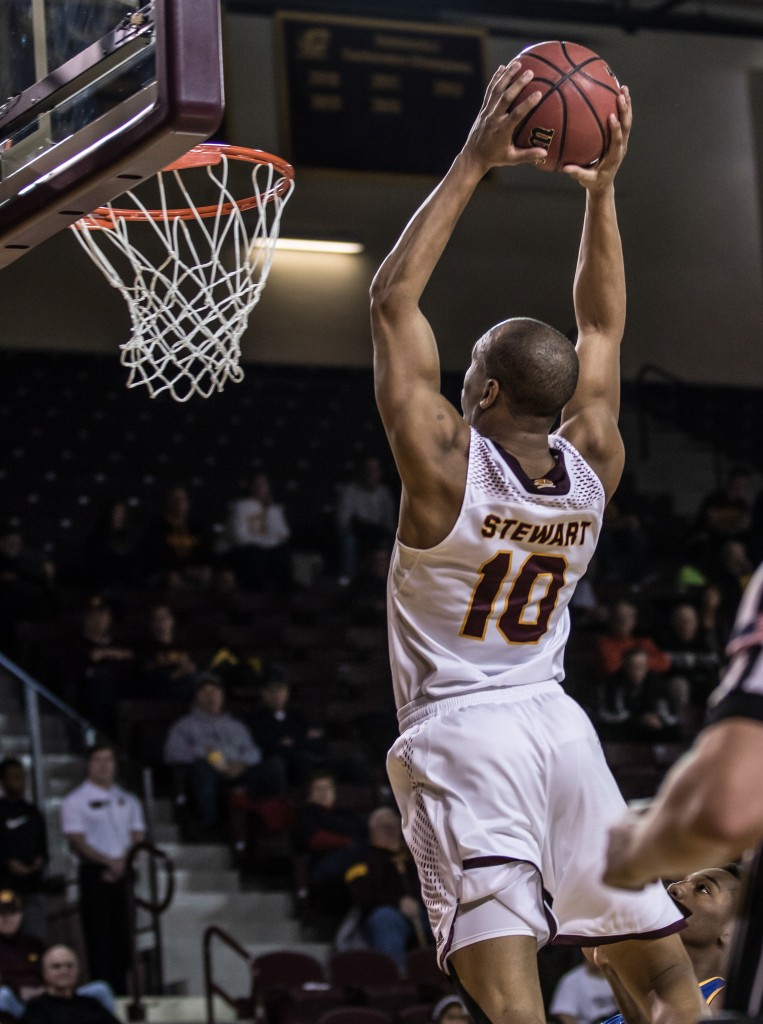 Austin Stewart, 10, throws down the dunk during the game against McNeese State University in McGuirk Arena on the campus of Central Michigan University, Mt. Pleasant, Michigan, Monday, November 30, 2015.